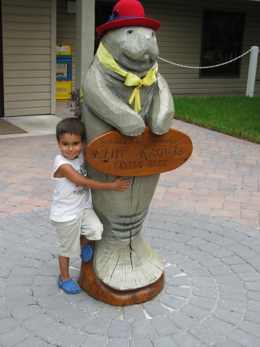 """Mommy, I love this Manatee so much. Can we bring her home? She's so lonely here.""  ""No, Nate, she belongs to the campground."" ""Mommy? How old is she?"" ""Well, she has to be at least 55...she's in the red-hat society."" ""Mommy? Why are you laughing?"" {sigh} ""Because sometimes I crack myself up Nate."""